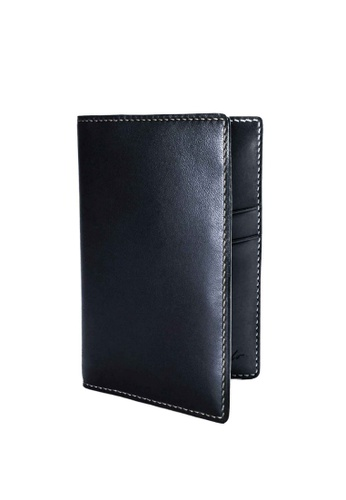Crudo Leather Craft blue Passport Holder - Navy Blue 52571AC49D5A15GS_1