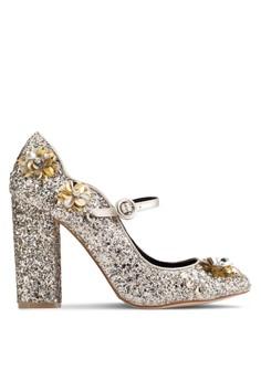 Desire 閃面花飾粗跟高跟鞋