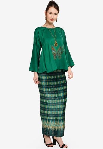 Yans Creation red and green Kurung Kekupu B465AAAD496EEEGS_1