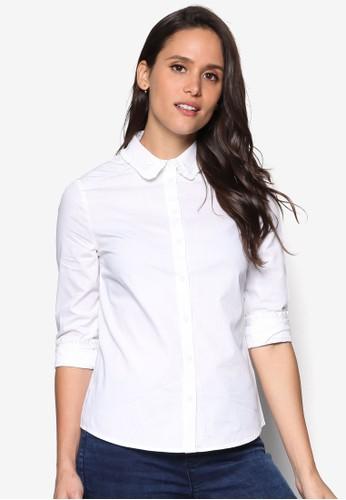 荷葉標準領長袖襯衫, 服飾esprit台灣outlet, 服飾
