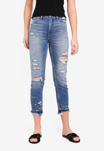Abercrombie & Fitch blue Dark Destroy Let Down Annie Jeans 3AF01AA67CAFA3GS_1
