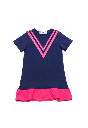 Mini Moley navy Chevron Design Girl's Shift Dress 0FFF8KAD16B317GS_1