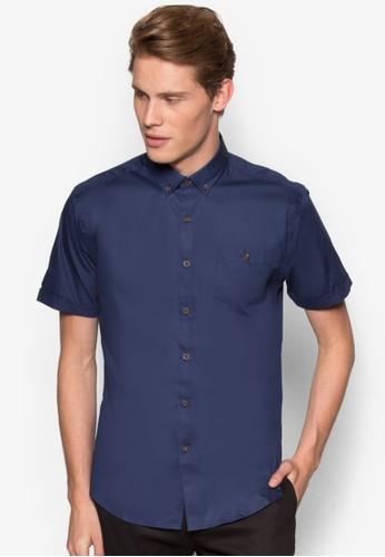 素色貼身短袖襯esprit官網衫, 服飾, 襯衫