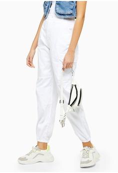 c351e34dd481e TOPSHOP white White Cuffed Utility Cargo Trousers D06CDAA6823235GS_1