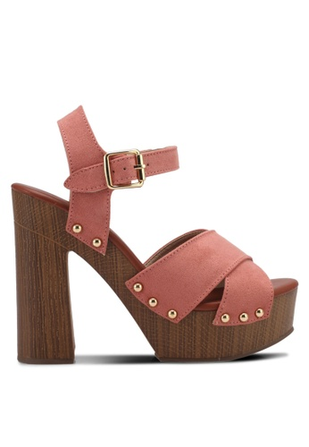 ZALORA pink Studded Chunky Clog Heels 069BFSH307035CGS_1