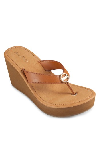 Wadesprit台灣outletong 夾腳楔型涼鞋, 女鞋, 鞋