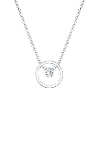 Elli Germany silver Perhiasan Wanita Perak Asli - Silver Kalung Circle Crystal EL948AC57WCWID_1