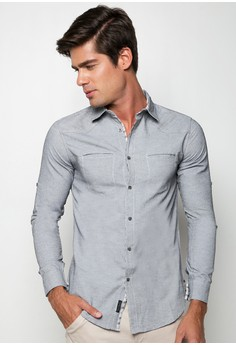Solid Long Sleeves Button Down