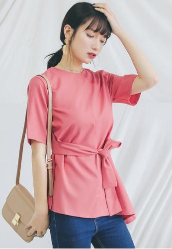 Shopsfashion pink Short Sleeved Peplum Top in Pink SH656AA0GI6VSG_1