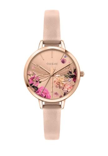 Oui & Me beige Petite Fleurette Quartz Watch NUDE Leather Strap ME010094 3076CAC63FE52AGS_1