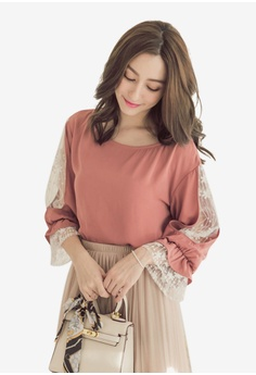 be9d6182f04 YOCO red Lace Panel Detail Blouse 9EB4CAA165A7E6GS 1