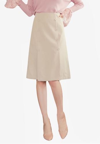 YOCO beige Buttoned Front Skirt A2A3DAA11586C7GS_1