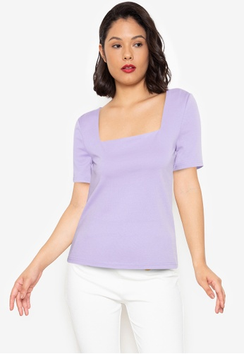 ZALORA WORK purple Square Neck Fitted Top 21955AA2FC388BGS_1