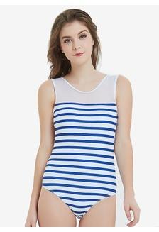 2cd6bc28d0 Stripe One Piece Swimwear Mesh Backless Swimsuit Basic Monokini  283C1USEF37EA0GS 1
