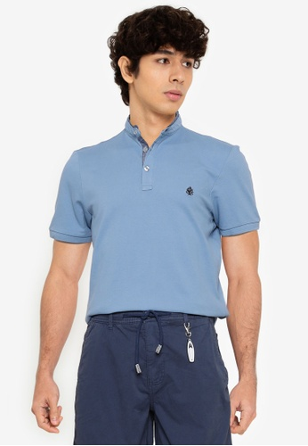 Springfield blue Slim Fit Mandarin Comfort Polo Shirt 75D81AA4CE9AE3GS_1