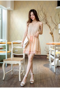 [OB] Crochet Lace Sleeveless Dress with Waist Strap