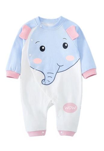 Kiddies Crew blue and multi Elephant Colour Block Pop Up Ears Boys Girls Baby Kids Long Sleeve Romper Onesie Overalls Bodysuit E6BA0KA35736CEGS_1