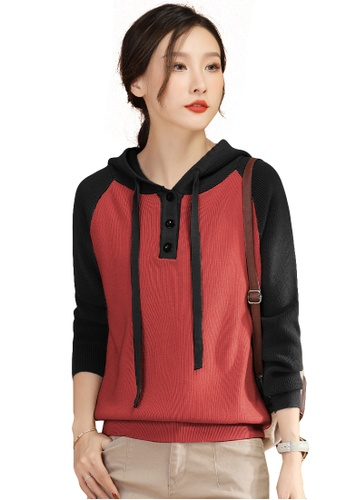 A-IN GIRLS black and red Fashion Color Matching Hooded Sweater 47B65AAEB34E4DGS_1