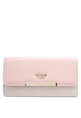 Guess pink Lou Lou Clutch Wallet AAE57AC8DB6511GS_1