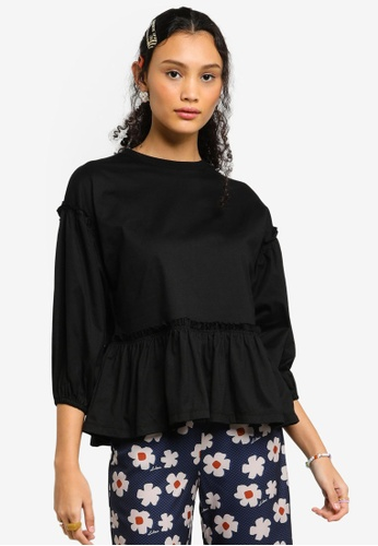 Lubna black Organic Cotton Babydoll Top 7265DAAD5CF991GS_1