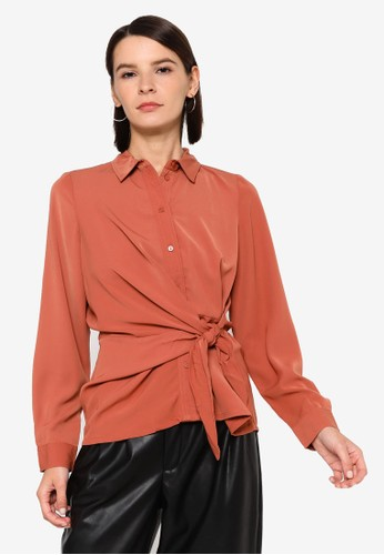 Vero Moda orange Maci Knot Shirt 6C24EAA7E6DFD3GS_1