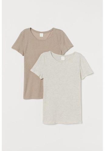 H&M beige 2-pack cotton T-shirts B5F61AA3EE0B56GS_1