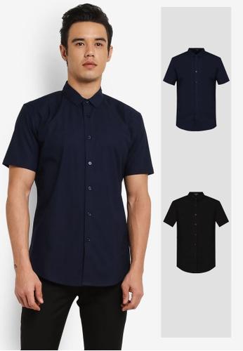 ZALORA black and navy 2 Pack Soft Cotton Twill Short Sleeve Shirt ZA819AA0RO1GMY_1
