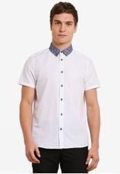 Burton Menswear London white Short Sleeve Paisley Print Collar Oxford Shirt BU964AA0S7ELMY_1