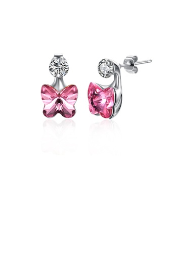 Glamorousky pink 925 Sterling Silve Sparkling Elegant Noble Romantic Pink Sweet Butterfly Earrings with Pink Austrian Element Crystal A9483ACC9037CAGS_1
