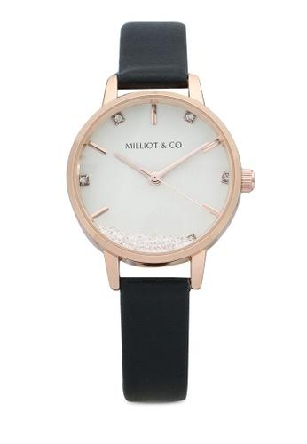 Milliot & Co. 黑色 Harper Rose Gold Leather Strap Watch 935BAAC5FDEDE2GS_1