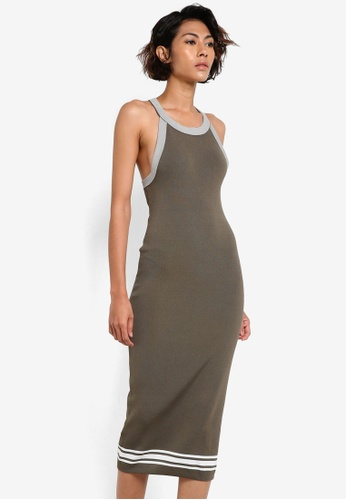 Mango green Fitted Jersey Dress MA193AA54CAVMY_1