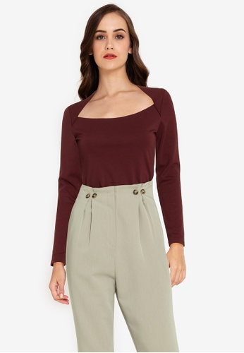 ZALORA WORK red Square Neck Long Sleeves Top B8C12AA096714AGS_1