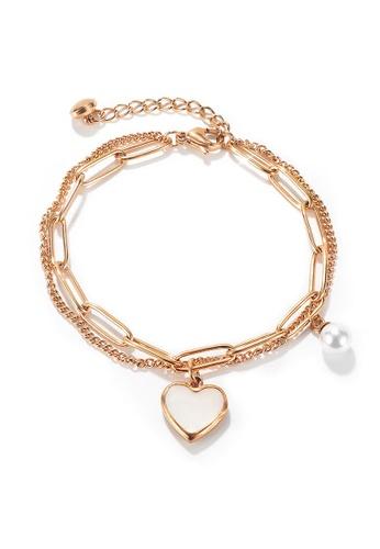 YOUNIQ YOUNIQ LUNA Heart Chain 18K Rosegold  Titanium Steel Love Bracelet with Pearl 283F6ACB189D39GS_1