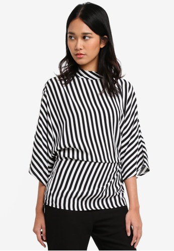 TOPSHOP black Striped Tuck Detail Top 776C2AA9186345GS_1