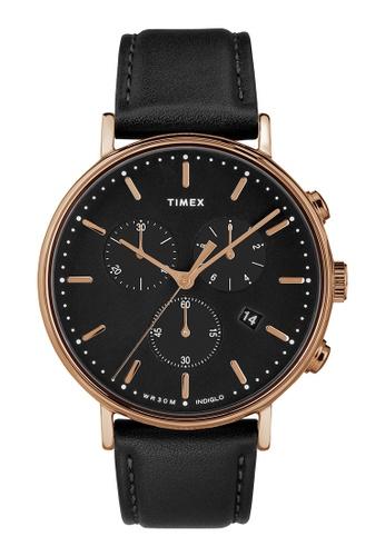 Timex black Timex Fairfield Chronograph 41mm - Rose Gold-Tone Case, Black Strap (TW2T11600) 0F417AC958384BGS_1