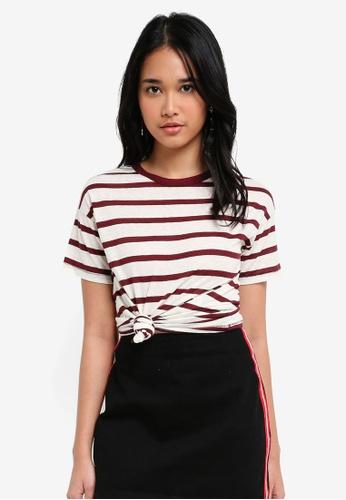 TOPSHOP red Petite Bold Stripe Marl Tee 34CADAAFD952BEGS_1