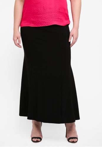 Ex'otico black Plus Size Mermaid Long Skirt 2624CAABB010B9GS_1