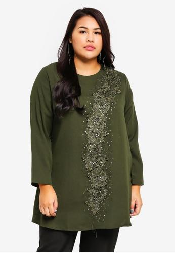 BYN green Plus Size Muslimah Blouse F3D9CAA6AC93F1GS_1