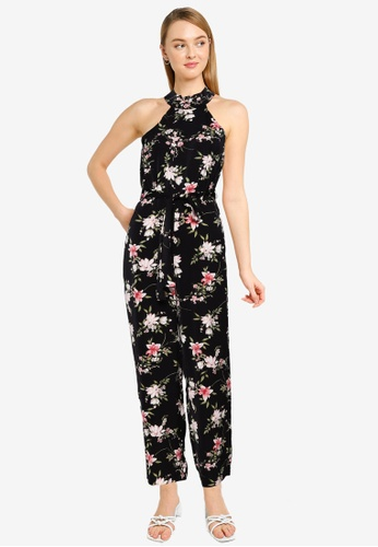 FORCAST black Ava Halterneck Floral Jumpsuit 77AF0AA93E0C33GS_1