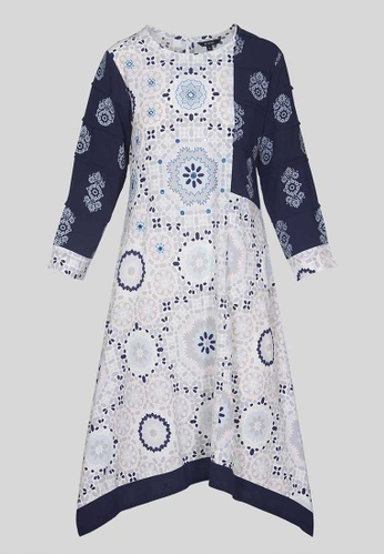 Le Reve grey and white and blue Le Reve Round Neckline Asymetrical Blue Dress 8A291AAB78B0E8GS_1
