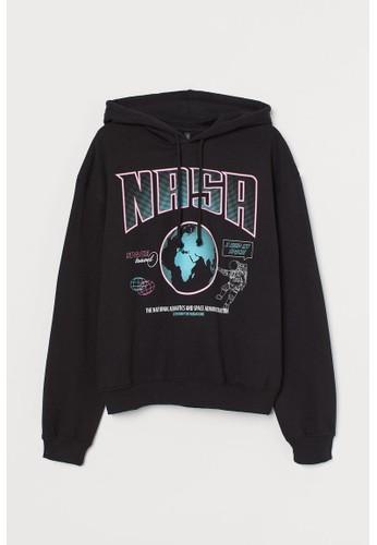 H&M black Printed hoodie B8BD0AA6968053GS_1