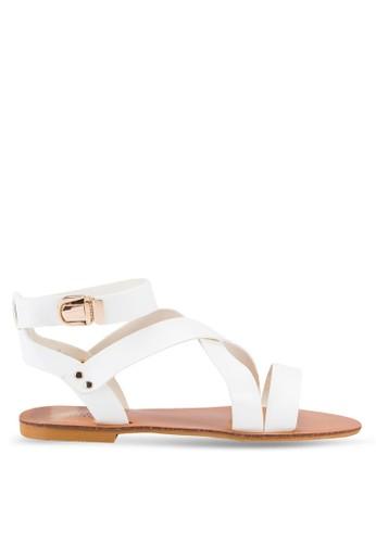 zalora 衣服尺寸Makayla 交叉帶羅馬涼鞋, 女鞋, 涼鞋