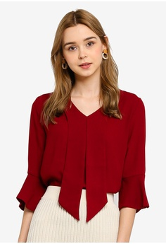 1055d7935c5ad Tokichoi red Chiffon Blouse With Bell Sleeves F454AAAF260247GS 1
