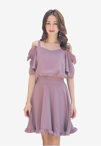 Yoco purple Ruffle Open Shoulder Dress 45582AA3E2554CGS_1