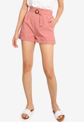 ZALORA BASICS pink Paperbag Shorts 1A906AAC88939BGS_1