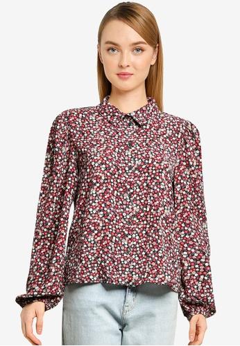 JACQUELINE DE YONG navy Piper Puff Shirt 998D8AA0B74BF8GS_1