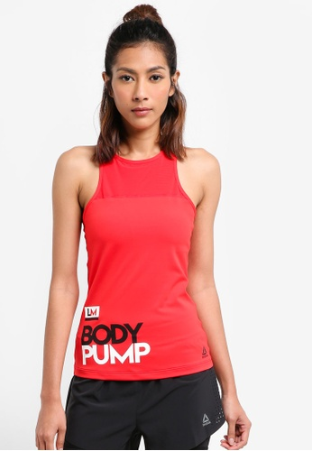 Reebok red Les Mills Bodypump Long Bra Padded RE691US0SVYDMY_1