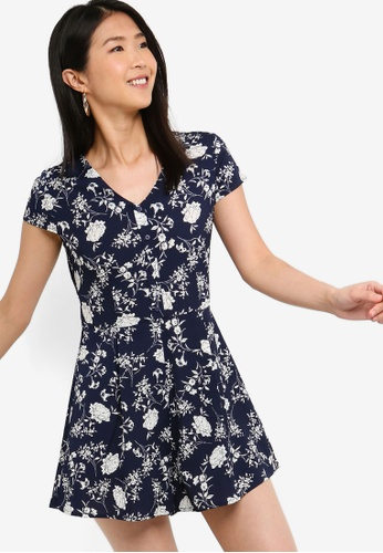 ZALORA BASICS navy Basic Button Through Playsuit 64377AA2976D08GS_1