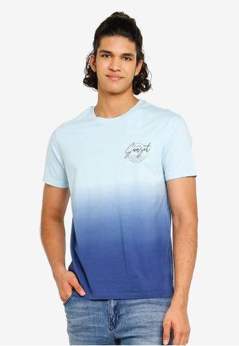 Burton Menswear London 海軍藍色 暈染風T恤 C19FFAA28662C6GS_1