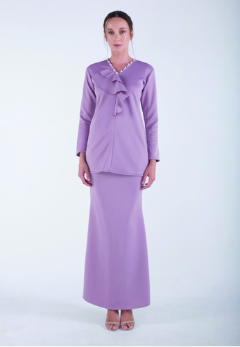 AMANI Short Ruffle Kurung from Meraki Atelier in Purple